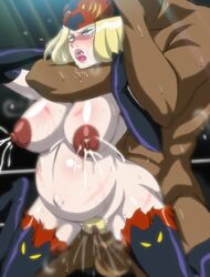 areolae blonde_hair blue_eyes breasts chokehold choking drooling elbow_gloves female forced hat lactation large_breasts lips lipstick long_hair makino_tomoyasu miss_x_(tiger_mask) nipples open_mouth pregnant pubic_hair pussy rape restrained rolling_eyes sex tiger_mask_(series) tiger_mask_w whip_marks