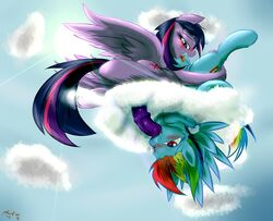 2016 69_position alicorn ass blue_feathers blush cloud cutie_mark dickgirl dickgirl/female duo equine feathered_wings feathers female feral friendship_is_magic frist44 hair hi_res horn intersex intersex/female mammal multicolored_hair my_little_pony on_cloud oral outside pegasus penis purple_feathers pussy rainbow_dash_(mlp) rainbow_hair sex tongue tongue_out twilight_sparkle_(mlp) upside-down wings