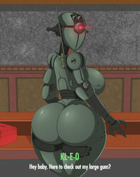 1girl 2017 ass assaultron back big_ass big_breasts breasts ducktits english_text fallout female huge_ass huge_breasts kl-e-0 looking_at_viewer looking_back machine not_furry nude one_eye robot sideboob solo technophilia text thick_thighs video_games wide_hips