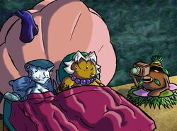 1girl 2boys bare_shoulders bed breasts business_scrub camera cleavage deku_scrub goron goron_link hat large_breasts link lulu majora's_mask nintendo nude sketch the_legend_of_zelda transformation white_hair zora