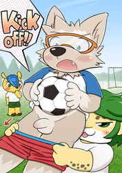 anthro armadillo balls blue_eyes blush brown_fur canine cheetah eyewear feline fifa fuleco fur furry glasses green_eyes green_hair inuwanko male mammal penis surprise white_fur wolf yaoi yellow_fur zabivaka zakumi