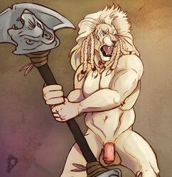 ajani_goldmane balls braided_hair feline fighting_stance flaccid front_view hair humanoid_penis leonin lion looking_away magic_the_gathering male mammal mane melee_weapon monk's_spade muscular navel penis planeswalker polearm sharp_teeth silenceartwork snarling teeth uncut vein veiny_penis weapon