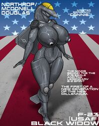 2017 aircraft airplane anthro barely_visible_genitalia big_breasts breasts english_text erect_nipples female green_eyes half-closed_eyes huge_breasts jet living_aircraft living_machine machine navel nipples not_furry nude pussy renthedragon smile solo standing stars_and_stripes subtle_pussy text united_states_of_america
