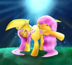 digital_media_(artwork) equine female flutterbat_(mlp) fluttershy_(mlp) friendship_is_magic hi_res hooves horse inviting looking_at_viewer mammal my_little_pony pony pussy rubydusk simple_background smile smirk solo suggestive_look wings