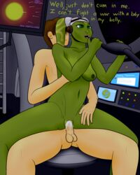 alien alien_girl bendycindy breasts brown_hair cum cum_in_pussy dialogue green_eyes green_skin hera_syndulla impregnation interspecies nude space spaceship star_wars star_wars_rebels straight twi'lek