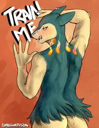 2017 anthro ass cum digital_media_(artwork) fur iron_artist male nintendo open_mouth pokemon simple_background siriuswolfus solo tongue typhlosion video_games