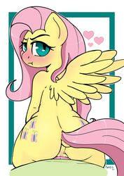 2017 anthro ass blush cutie_mark dock duo equine feathered_wings feathers female fluttershy_(mlp) friendship_is_magic hair hi_res long_hair looking_back male mammal my_little_pony pegasus penetration penis pink_hair rhk sex solo_focus straight wings