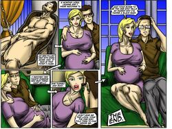 blonde_hair cuckold cum english_text female illustrated-interracial large_breasts male pregnant