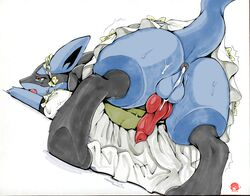1boy after_sex all_fours animal_genitalia animal_penis anthro anus ass ass_up belly black_fur blue_fur bottomless bow canine canine_penis clothed clothing crossdressing crying cum cum_in_ass cum_inside dress erection eyelashes fangs feet furry girly jackal knot looking_back lucario maid male male_only mammal navel nintendo open_mouth paws penis pokemon pokemon_dppt precum presenting presenting_hindquarters raised_tail red_eyes simple_background skirt sweat tail tears teeth thick_tail thick_thighs tongue trembling video_games white-castle white_background yellow_fur
