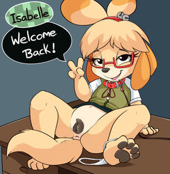 2017 animal_crossing animal_genitalia animal_pussy anthro anus bottomless canine canine canine_pussy clitoris clothed clothing collar dialogue english_text eyewear female fur glasses isabelle_(animal_crossing) leash looking_at_viewer mammal navel nintendo open_mouth panties panties_around_one_leg pawpads pussy shih_tzu smitty_g solo spread_legs spreading tan_fur text underwear v_sign video_games