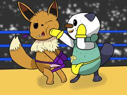 2boys audience black_eyes boxing brown_fur bulge canine duo eevee erection feet furry gloves long_ears male male_only nintendo nude one_eye_closed open_mouth oshawott paws penis peterheat pokemon pokemon_bw punch saliva smile sport standing tail testicles tongue underwear video_games white_fur