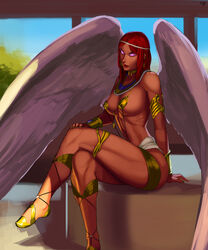 aka6 angel angel_wings armor ass bikini_armor breasts cleavage lipstick long_hair red_hair tagme thighs wings