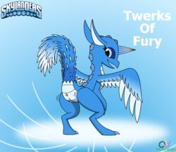 anus ass ass_up avian blue_eyes catchphrase ears_up equine feathered_wings feathers female gryphon horn hybrid looking_back mammal oddy_mcstrange presenting pussy raised_tail simple_background skylanders smile solo spyro_the_dragon standing text twerking unicorn whirlwind_(skylanders) wings