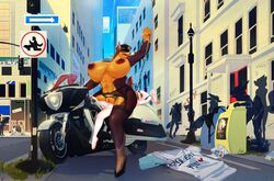 anthro ball_gag big_breasts breasts canine city clothing doberman female gag group huge_breasts larger_female male mammal motorcycle penetration police public sex size_difference smaller_male straight sylviajo uniform vaginal_penetration