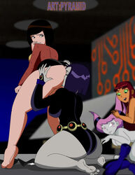 4girls anilingus annie ass batman batman_the_animated_series belt blush brown_hair closed_eyes dc dc_comics dcau green_eyes grey_skin jacket jinx jinx_(dc) leotard long_hair looking_back looking_down no_panties nude pink_eyes pink_hair purple_hair pyramid_(artist) rachel_roth raven raven_(dc) red_hair rimjob short_hair skirt smile starfire yuri