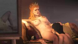 3d animated anna_henrietta areolae breasts cunnilingus female fugtrup nipples no_sound nude oral source_filmmaker the_witcher the_witcher_3 webm