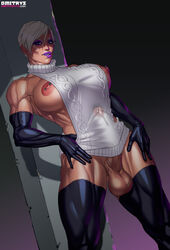 areolae balls big_breasts big_penis breasts dickgirl dmitrys erection erection_under_clothes futa_solo futanari intersex large_breasts looking_at_viewer meryl_(dmitrys) muscle nipple_piercing nipples penis penis_under_clothes piercing solo testicles thighhighs virgin_killer_sweater