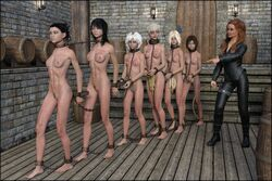3d ankle_cuffs arms_behind_back barefoot bondage breasts captured chains clothed_female_nude_female coffle collar cuffs feet female femdom femsub katzenauge1 linked_collar multiple_females multiple_girls multiple_subs nude slave slavegirl whip whip_marks wrist_cuffs