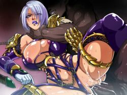 areolae armor breasts censored cum cum_in_pussy female gauntlets hair_over_one_eye isabella_valentine large_breasts lipstick makeup navel purple_legwear purple_lipstick raburebo revealing_clothes sex short_hair silver_hair soul_calibur soulcalibur_vi straight strangling vaginal_penetration