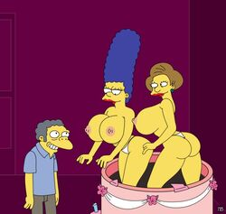big_ass big_breasts breasts cake dat_ass edna_krabappel huge_breasts lipstick marge_simpson milf moe_szyslak nano_baz nipples surprise the_simpsons