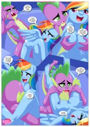 anthro bbmbbf big_breasts breasts equestria_untamed equine friendship_is_magic grope mammal my_little_pony palcomix pegasus rainbow_dash_(mlp) sex spanking spike_the_dragon wings
