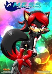 anthro ass bbmbbf bedroom_eyes black_fur boots canine clothing comic elbow_gloves female footwear fox fur gloves hair half-closed_eyes hedgehog high_heels hybrid legwear mammal mostly_nude nude palcomix pussy red_hair seductive shoes solo sonic_(series) tail_the_hedgefox thigh_highs