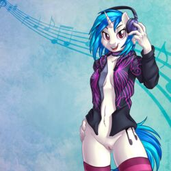 2016 anthro anthrofied blue_hair bottomless brian_mcpherson choker clothed clothing cropped cutie_mark dj equine female friendship_is_magic hair headphones hi_res hoodie horn legwear looking_at_viewer mammal multicolored_hair musical_note my_little_pony navel open_hoodie open_mouth pussy smile socks solo striped striped_legwear striped_socks stripes thigh_highs two_tone_hair unicorn vinyl_scratch_(mlp)