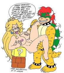 2004 big_breasts blonde_hair bowser breasts closed_eyes crown duo female flat_colors half-closed_eyes happy happy_sex human long_hair male mammal nintendo nipples nude penetration princess_peach sex straight super_mario_bros. teeth thebigmansini tongue tongue_out vaginal_penetration