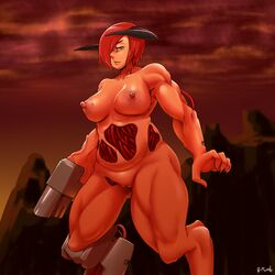 areola arm_cannon big_breasts breasts cyberdemon cybernetics cyborg demon doom female horn ltomb machine nipples nude pussy ranged_weapon red_hair solo weapon yellow_eyes