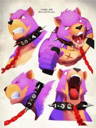 2016 anthro bear beastrancers black_nose bondage bondage bound collar cum cum_in_mouth cum_inside cum_on_tongue digital_media_(artwork) english_text fur kurokawasudou leash male mammal multiple_images muscular muscular_male nipples nude open_mouth purple_fur scar simple_background solo spiked_collar spikes sweat teeth text tongue