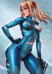 absurdres areolae artist_name beauty_mark blonde_hair blue_eyes bodysuit breasts clothed cowboy_shot curvy dandon_fuga eyelashes female female_only gun hand_on_hip handgun highres holding_weapon human large_breasts lipstick long_hair metroid mole nintendo nipple_cutout nipples ponytail puffy_nipples ranged_weapon samus_aran sidelocks solo standing tied_hair tight_clothes toned torn_clothes weapon zero_suit