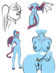 2017 anthro areola breasts demon ear_piercing elzzombie female friendship_is_magic hair horn my_little_pony nipples nude piercing pussy pussy_juice rainbow_dash_(mlp) simple_background succubus tongue tongue_out white_background wings