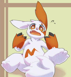 ambiguous_gender belly brown_background claws fangs feet furry long_ears looking_at_viewer male mumu nintendo no_nipples nude open_mouth pokemon pokemon_rse pubic_hair red_eyes red_fur sitting solo spread_legs surprise sweat tail tail_censor teeth tongue video_games white_fur zangoose