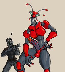 alien antennae anthro armor balls bulge claws clothed clothing daftpatriot erection gas_mask gloves gun headgear heart helmet human long_penis looking_at_viewer male mammal mask penis pose ranged_weapon red_alien sharp_claws size_difference skinny soldier speedo squint standing swimsuit timesplitters uncut underwear uniform video_games weapon