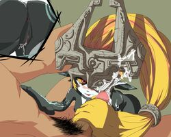 1boy anus artist_request ass blonde_hair blush cum facial female helmet male_pubic_hair midna oerba_yun_fang one_eye_covered penis pointy_ears pussy pussy_juice red_eyes the_legend_of_zelda the_legend_of_zelda:_twilight_princess tongue_out uncensored