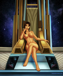 1girl bare_shoulders barefoot belly breasts brown_hair crossed_legs feet female female_only high_resolution hips large_breasts legs long_hair looking_at_viewer nail_polish navel nipples nude samcooper sitting solo star_wars star_wars:_the_old_republic star_wars_the_old_republic thighs throne toenail_polish toes topless vaylin