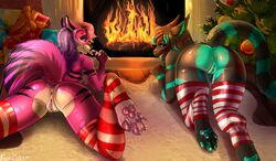 2017 anthro anus ass black_fur black_hair candy candy_cane canine christmas clothing duo eleacat english_text female fire fireplace food fox fur gift green_fur green_hair green_pawpads green_pussy hair holidays legwear licking long_hair lying mammal mostly_nude on_front pawpads pink_pawpads purple_fur purple_hair pussy raised_tail selene_leni signature spread_legs spreading stripes text tongue tongue_out white_fur