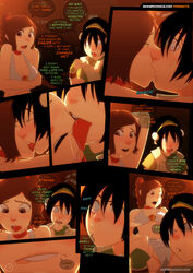 2girls avatar_the_last_airbender comic female kissing licking sillygirl sinner speech_bubble toph_bei_fong ty_lee yuri