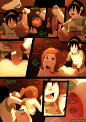2girls anal_insertion avatar_the_last_airbender comic female sex_toy sillygirl sinner speech_bubble strapon toph_bei_fong ty_lee yuri
