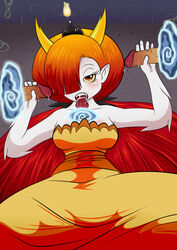 clothed clothing female flame hekapoo horns long_hair monster_girl non-human one_eye_covered oral pointy_ears red_hair solo star_vs_the_forces_of_evil tagme