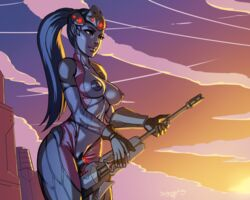 blue_hair blue_skin breasts dr_graevling female gun headgear large_breasts nipples overwatch ponytail pubic_hair sniper_rifle solo standing tied_hair weapon widowmaker