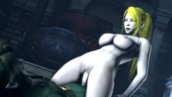 1boy 3d animated blonde_hair breasts clothed_male_nude_female cowgirl female green_shirt happy_sex large_breasts link metroid nintendo outdoors samus_aran the_legend_of_zelda w33w33