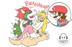 2boys blonde_hair blue_eyes blush bowser bracelet breasts brown_hair claws closed_eyes crown eyelashes facial_hair female hat horns ilustretsspoks interspecies koopa large_breasts laughing long_hair mario moustache multiple_boys netorare nintendo nipples nude open_mouth pink_legwear princess_peach red_hair rope sharp_teeth simple_background speed_lines spiked_bracelet spiked_collar spikes straight super_mario_bros. tail thighhighs vaginal_penetration white_background