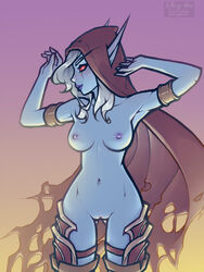armlet ass_visible_through_thighs blue_skin breasts cape female h1kar1ko hood long_hair looking_at_viewer nipples nude pointy_ears pussy red_eyes smile solo sylvanas_windrunner thighhighs white_hair world_of_warcraft
