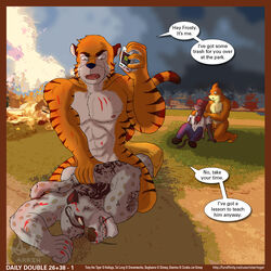 abs aircraft airplane angry animal_genitalia anthro anthrofied armpits ass bagheera_(jungle_book) biceps black_fur black_stripes blood border cetacean circumcised claws coach crossover dialogue disney distracted duo_focus english_text feline fire fish flaccid front_view frosted_flakes frown fur furry group holding_object holding_phone humanoid_penis imminent_rape jumpsuit jungle_book kneeling kung_fu_panda leopard lying male mammal marine mascot multicolored_fur muscular nude on_front on_phone open_mouth orange_fur orange_scales panther pants_down pecs penis phone pinned plane_crash scales scratches sex shark sheath shirt slammu snow_leopard speech_bubble star_ringer straddling street_sharks stripes tai_lung text tiger tony_the_tiger topless torn_clothing weapon whale_shark whiskers white_fur yaoi