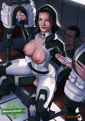 1girl 3boys armor artist_name black_hair blue_eyes bodysuit closed_eyes cock facial_mark female gloves hentaibro human legs long_hair male mass_effect miranda_lawson multiple_boys multiple_penises penetration penis pussy sex short_hair standing straight tagme thighs torn_clothes vagina vaginal vaginal_penetration watermark web_address