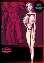 abs areola big_breasts breasts comic demon female foreskin freak_caregiver huge_breasts huge_cock hyper hyper_penis interspecies long_penis male monster nipples penis perky_breasts petite precum puffy_areola pussy red_penis red_skin sex_slave skimpy_clothes text thecrunchy veins veiny_penis