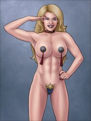 1girl abs armpit armpits avengers bare_shoulders belly blonde blonde_hair blue_eyes breasts captain_marvel carol_danvers covered_nipples erect_nipples female female_only high-heeled_jill high_resolution hips large_breasts legs lips lipstick long_hair makeup marvel marvel_comics ms._marvel muscle muscular_female nail_polish navel nipple_bulge nipples red_lips red_lipstick solo tagme thighs topless