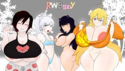 abs angry animal_ears ass big_breasts blake_belladonna blonde_hair clothed_female_nude_female dark_hair nude pussy ruby_rose rwby sanka-tetsu smile thong underboob weiss_schnee white_hair yang_xiao_long
