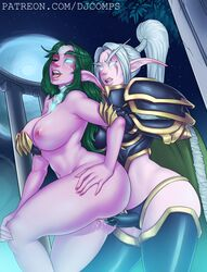 2girls absurdres areolae breasts elf female female_only fizzz highres maiev_shadowsong night_elf nipples nude penetration pointy_ears pussy sex strap-on tyrande_whisperwind vaginal_penetration world_of_warcraft